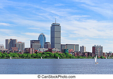 Boston skyline over river - Boston city skyline with...