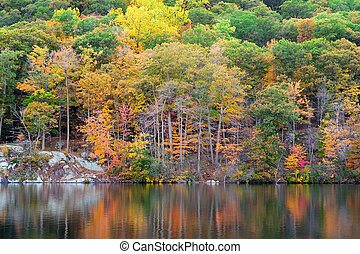 Bear Mountain lake - Bear Mountain with Hudson River in...