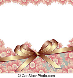 Floral background with ribbon - Floral background with...