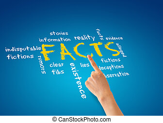 Facts - Hand pointing at a facts illustration on blue...