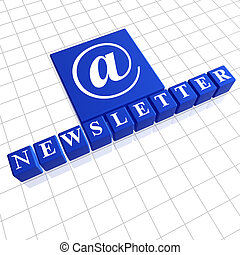 Newsletter - letters and email sign over blue 3d boxes