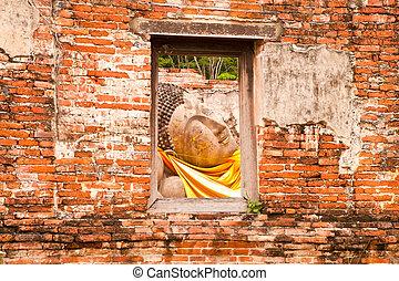 dormir, Buddha, estátua, Janela