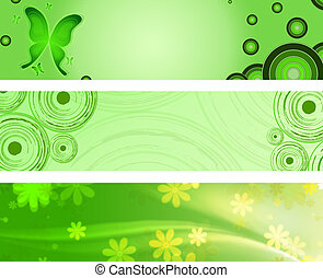 spring green banners - abstract circles, butterflies and...