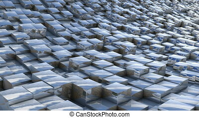 cube landscape reflection - abstract background