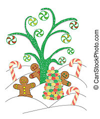 Candy Land - An illustrated scene of peppermints hanging...