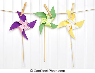Vibrant Summer Party Pinwheels on a Clothesline with White...