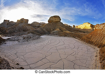Stone desert on the Dead Sea.