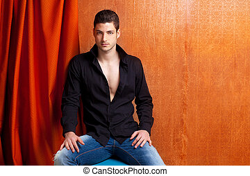 Latin spanish man portrait open black shirt with curtain and...