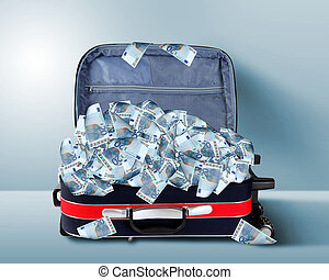 Suitcase full of banknotes - Picture of red travel suitcase...