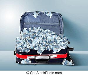 maleta, Lleno, billetes de banco