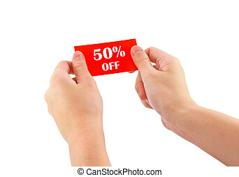 hands holding red card with 50 percent off isolated on white...