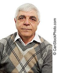 gray-haired man - Portrait of an old gray-haired man on a...
