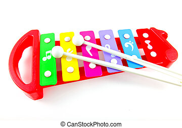 Toy colorful xylophone on white background