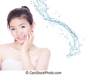 Young woman smile face skincare with splash of water