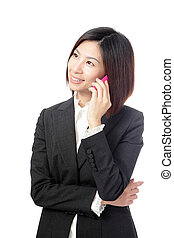 Business woman Happy Speaking Mobile phone