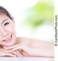 skincare woman Half Smile Face and hand