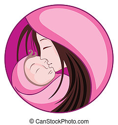 Mother with Child - illustration of mother embracing child...