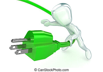 Green Power Generatoin - A Colourful 3d Rendered Green Power...