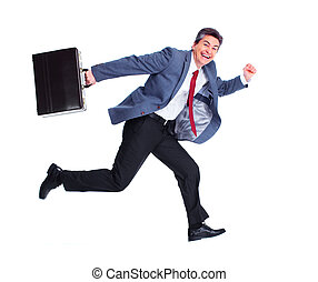 Happy running businessman Isolated over white background