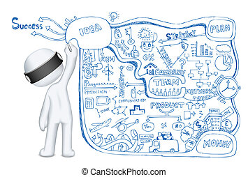 3d Man drawing Business Dooodle - illustration of 3d man in...