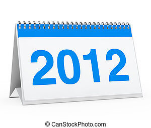 calendar 2012 - blue year calendar 2012 on white background