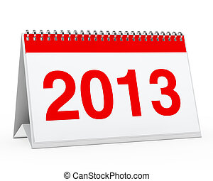 calendar 2013 - red year calendar 2013 on white background