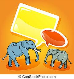 Elephants with speech bubbles