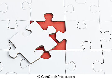 Puzzle ungeloest - rot,weiss,Puzzle.luecke
