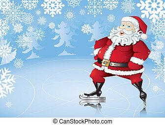 Skating Santa - Winter background with skating Santa Claus,...