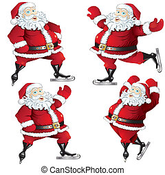 A set of skating Santas - A set of isolated cartoon...