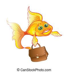 Business goldfish isolated