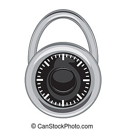 Combination Lock - A simple yet highly detailed image of a...
