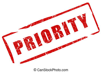 Priority stamp isolated on white background