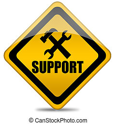 Support sign - Support service sign with tools