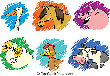 Set of cartoon farm animals - Set of funny farm animals...