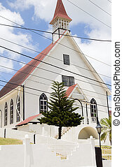 First Baptist Church with tropical tree La Loma town...