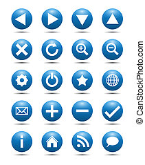 Blue Navigation Web Icons Isolated on White Background