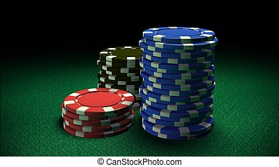 Casino chips - The 3d rendering of difference colored casino...