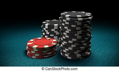 Casino chips red and black Blue table