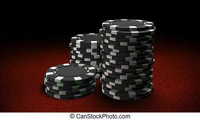 Casino chips black red table - The 3d rendering of...