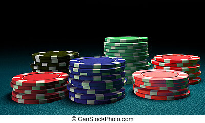 6 Casino color chips blue table
