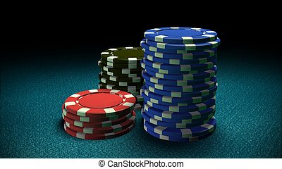 Casino chips blue table