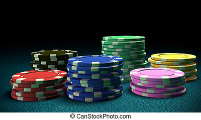 Set of Casino chips blue table