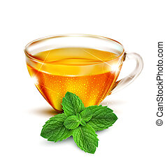 cup of tea with mint leaves on a white background