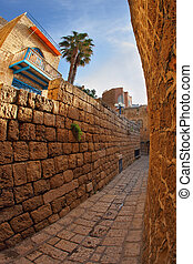 Narrow street in Old Yaffo in December - Narrow street in...