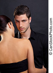 Couple in love with handsome man and rear woman - Couple in...