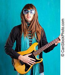 humor retro vintage hip heavy seventies guitar player