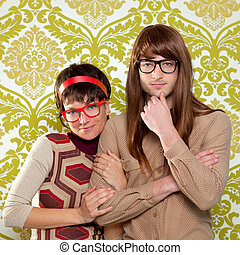 Funny humor nerd couple on vintage wallpaper - Funny humor...