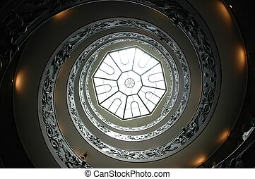 Vatican staircase - Spiral staircase in the Vatican museums,...