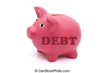 Repaying your debt - A pink piggy bank with word debt on it...